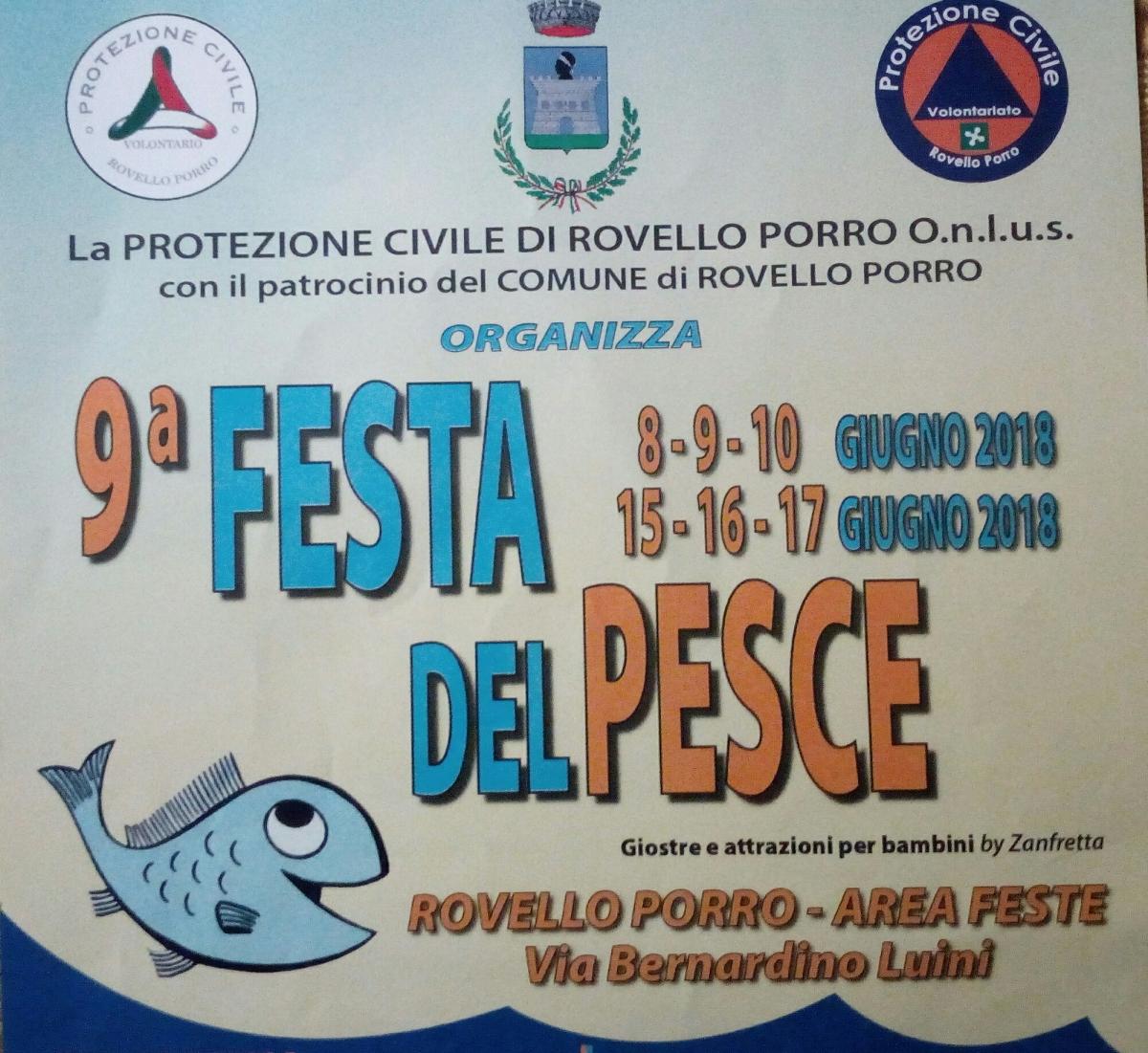 La nona FESTA DEL PESCE a Rovello Porro nei giorni 8-9-10 e 15-16-17 giugno