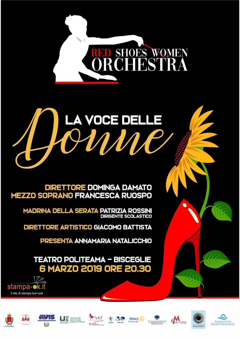 """bb947bfaafe1d Prima nazionale dell orchestra tutta la femminile Red Shoes Women Orchestra  che si esibirà indossando scarpe rosse in """"La Voce delle donne"""""""