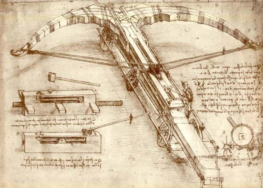 """Balestra gigante Leonardo, Codice Atlantico(1488-1489) foglio 149r, Armi varie e balestra gigante"""""""