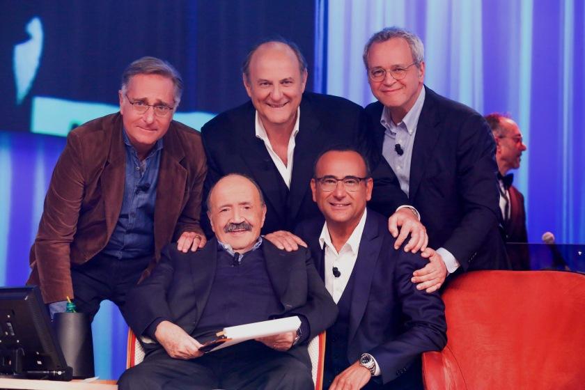 MAURIZIO COSTANZO, PAOLO BONOLIS, CARLO CONTI,GERRY SCOTTI ED ENRICO MENTANA__3630
